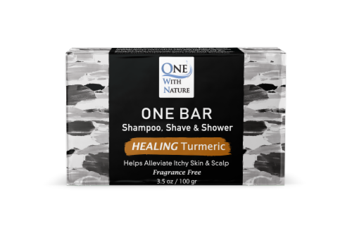 One With Nature One Healing Turmeric Fragrance Free Shave & Shower Grooming Bar Perspective: front
