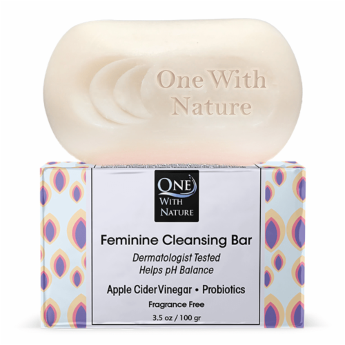 One With Nature Down There Fragrance Free Feminine Cleansing Bar Perspective: front