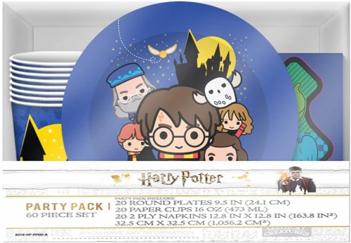 Harry Potter & Friends Chibi Styling 60 Piece Party Tableware Set | Cups | Plates | Napkins Perspective: front