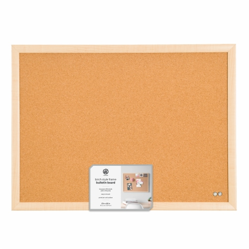 U Brands Cork Bulletin Board - Birch Perspective: front