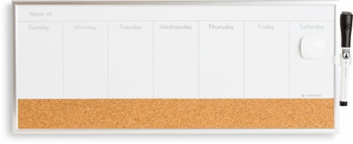 U Brands Aluminum Frame Magnetic Weekly Planner Dry Erase Board - White/Silver Perspective: front