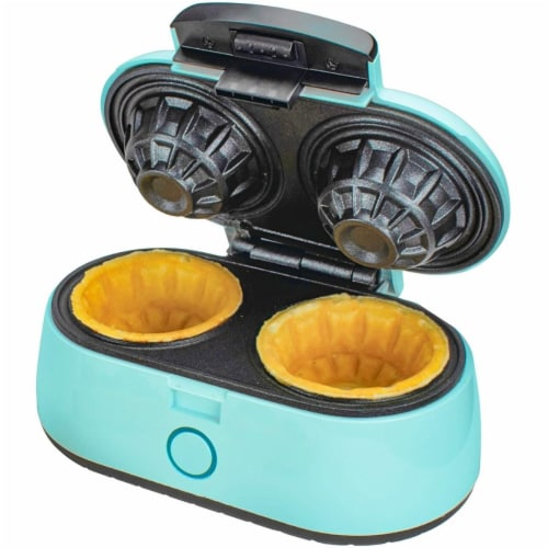 Brentwood TS-1402BL Kitchen Counter Dessert Double Bowl Mini Waffle Maker, Blue Perspective: front