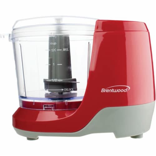 Brentwood MC-109R 1.5 Cup Kitchen Countertop Mini Food Chopper Processor, Red Perspective: front