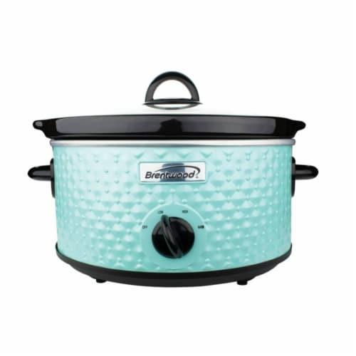 Brentwood Appliances SC-136BL 3.5 qt. Diamond Pattern Slow Cooker, Blue Perspective: front