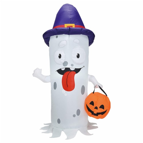 Joiedomi Halloween Ghost with Pumpkin Candy Pail Inflatable Perspective: front
