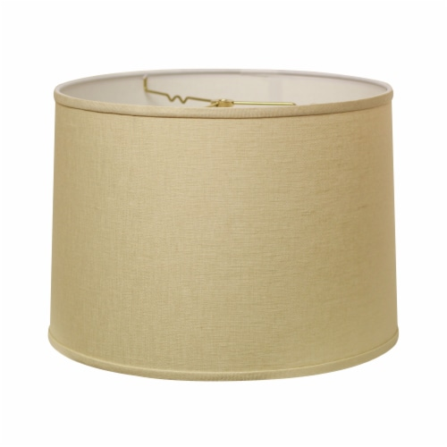 Slant Retro Drum Hardback Lampshade with Washer Fitter, Beige Perspective: front