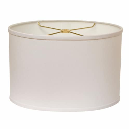 Slant Retro Oval Hardback Lampshade with Washer Fitter, White Perspective: front