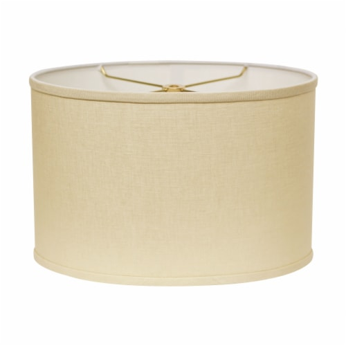 Slant Retro Oval Hardback Lampshade with Washer Fitter, Beige Perspective: front