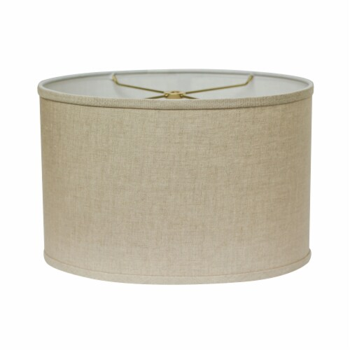 Slant Retro Oval Hardback Lampshade with Washer Fitter, Heather Perspective: front