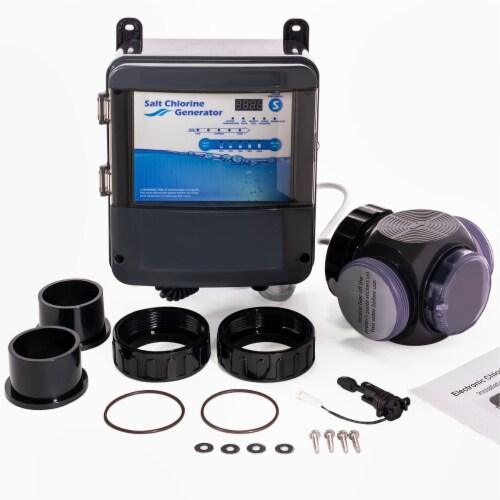 Pool Chlorine Generator System Salt Water Chlorinator for 35,000 Gallons Perspective: front