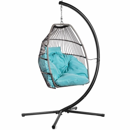Patio Hanging Egg Chair Swing X-Large Cushion Include Stand, Blue Perspective: front