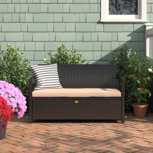 All-Weather Outdoor Storage Bench Pool Deck Box Patio with Cushion Seat Perspective: front