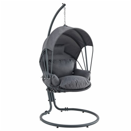 Patio Hanging Swing Lounge Chair Stand Deep Seat Cushion w/ Canopy Grey Perspective: front
