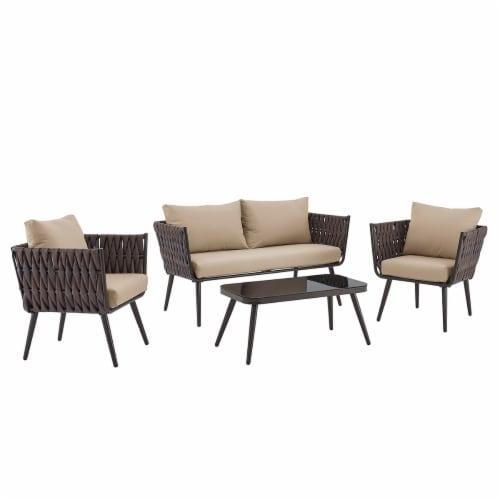 4PCS Outdoor Patio Conversation Sofas Set, Beige/Brown Perspective: front