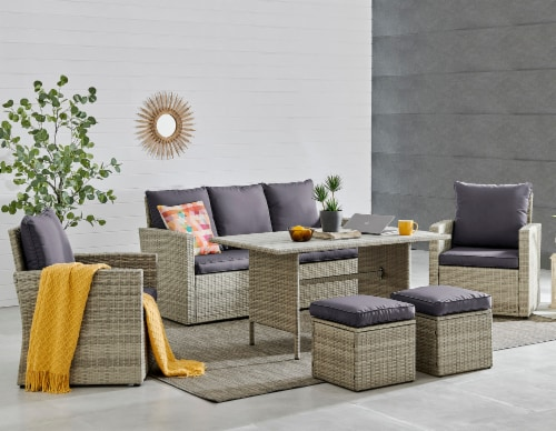 6-Pieces Outdoor Patio Dining Set Wicker Table Cushion Seat, Grey Perspective: front