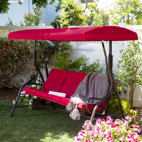 Outdoor 3-Seater Patio Porch Swing Chair with Adjustable Canopy Perspective: front