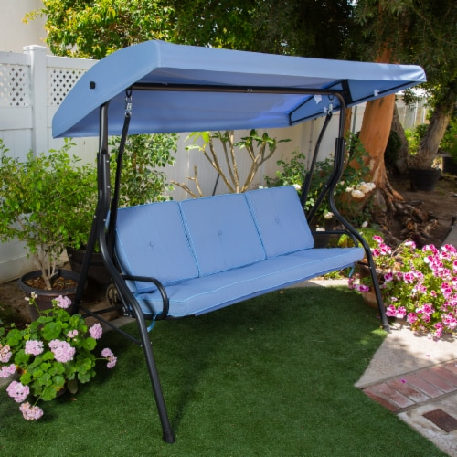 Outdoor 3-Person Patio Porch Swing Chair with Adjustable Canopy, Blue Perspective: front
