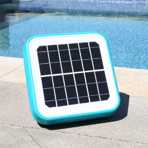 Solar Powered Pool Ionizer Kills Algae Using Less Chlorine Above or In Ground Perspective: front