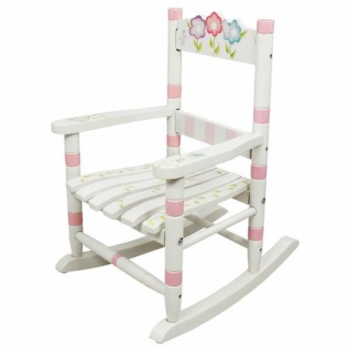 Fantasy Fields Childrens Bouquet Kids Wooden Rocking Chair Nursery Room W-5147G Perspective: front