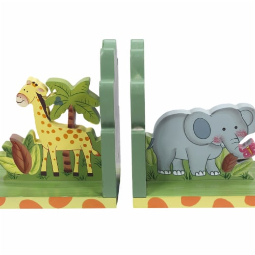 Kids Sunny Safari Bookends by Fantasy Fields Wooden Animal Nursery Décor W-9837A Perspective: front
