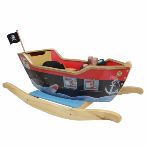 Teamson Kids Large Wooden Childrens Rocking Pirate Ship Toy Rocker TD-0066A Perspective: front