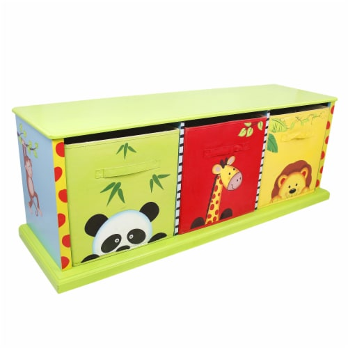Fantasy Fields Children Sunny Safari Kids Wooden Toy Box Canvas Drawer TD-0131A Perspective: front