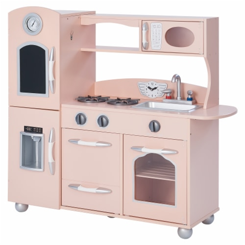 Pink Wooden Toy Kitchen with Fridge Freezer and Oven by Teamson Kids TD-11414P Perspective: front