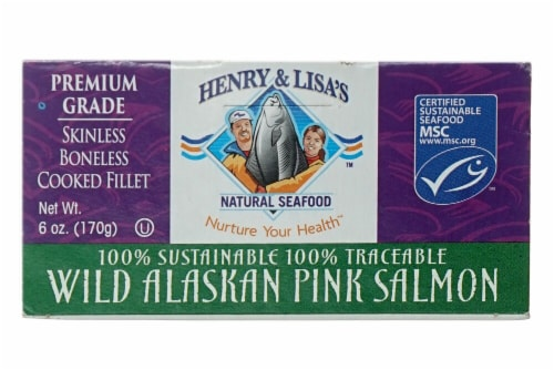 Henry & Lisa's Natural Seafood Wild Alaskan Pink Salmon Perspective: front