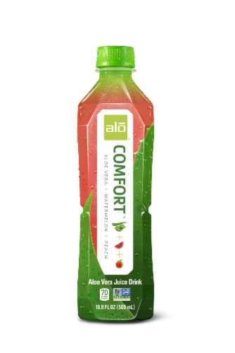 Alo Comfort Watermelon and Peach Flavor Aloe Drink Perspective: front