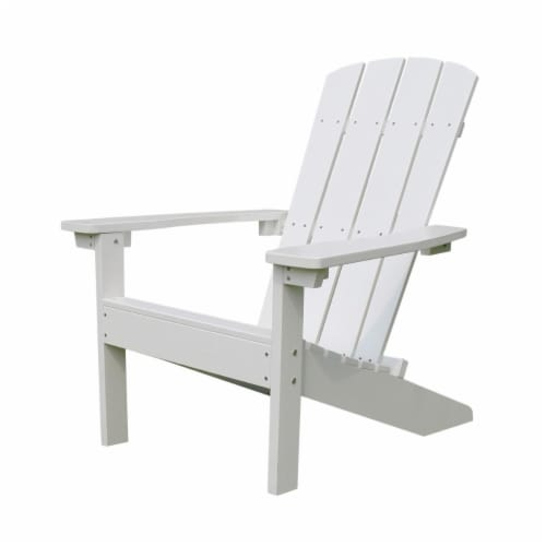Merry Products ADC0511120110 36.61 in. Lakeside Faux Wood Adirondack Chair, White Perspective: front
