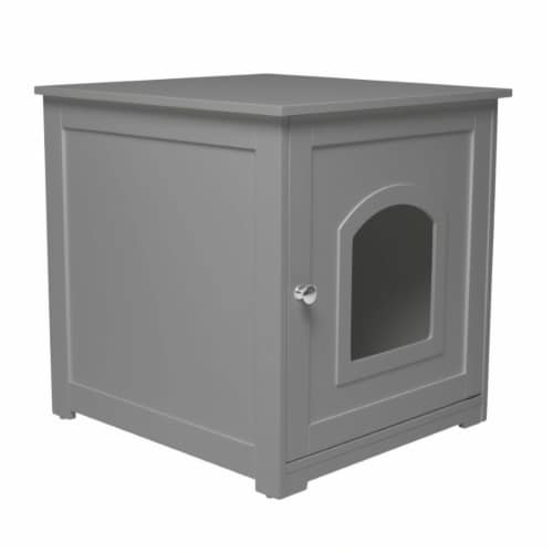 zoovilla Kitty Litter Loo Indoor Hidden Litter Box Enclosure Furniture, Gray Perspective: front