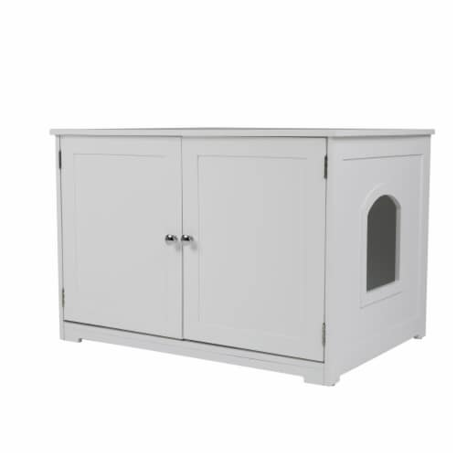 Zoovilla PTH1051720100 Kitty Litter Loo Bench, White Perspective: front