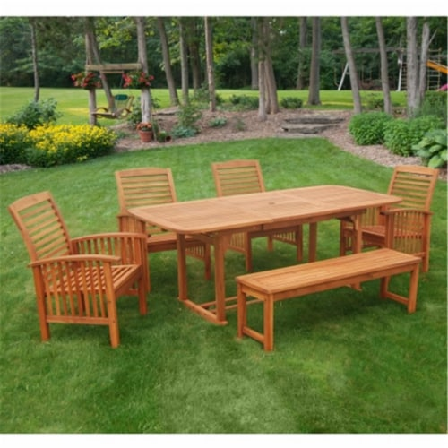 6 Piece Wood Patio Dining Set in Brown with Cushions Perspective: front