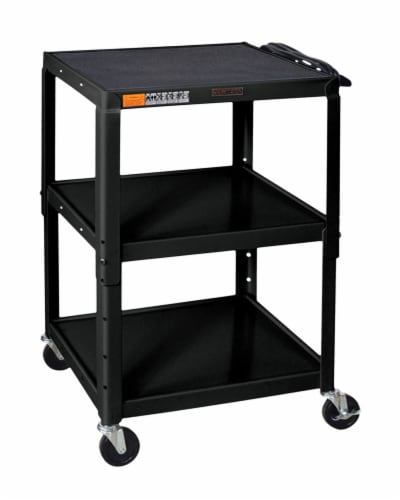 Luxor - Adjustable Height Steel A/V Cart - Three Shelves Perspective: front