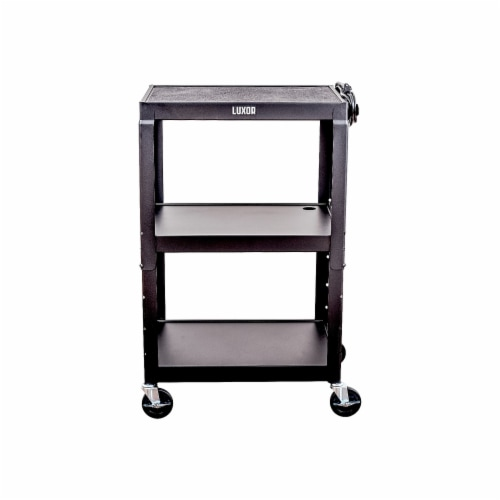 Luxor - Adjustable Height Steel A/V Cart - Three Shelves, Black Perspective: front
