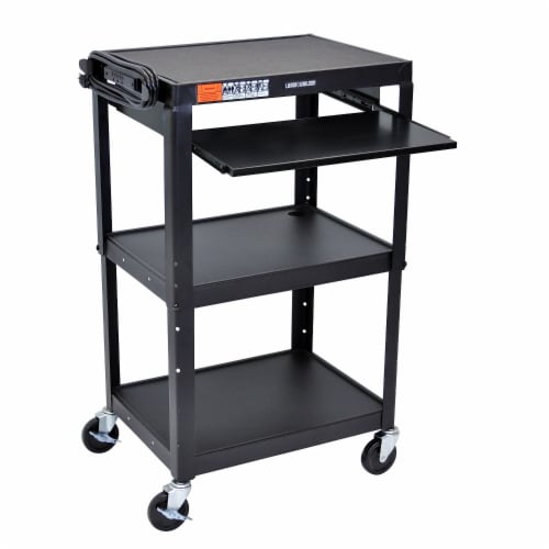 Luxor Adjustable Height Steel A/V Cart - Pullout Tray Perspective: front