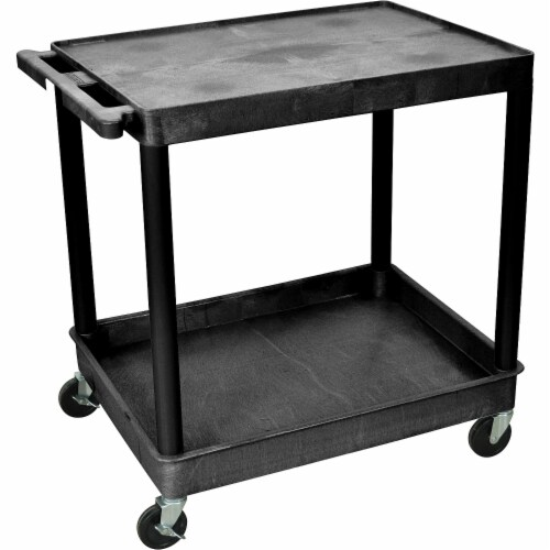 Luxor Large Flat Top and Tub Bottom Shelf Cart Perspective: front