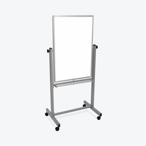 Luxor Dry Erase Double-Sided Magnetic Whiteboard with Aluminum Frame and Stand - 24 W X 36 H Perspective: front