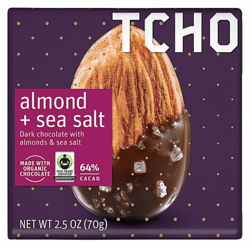 TCHO Organic Almond + Sea Salt 64% Cacao Dark Chocolate Bar Perspective: front