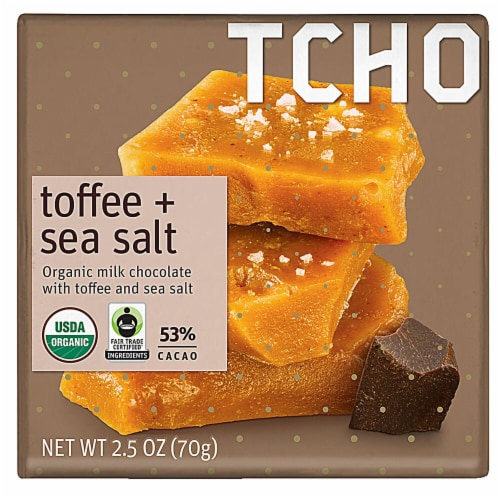 TCHO Toffee + Sea Salt Organic Milk Chocolate Bar Perspective: front