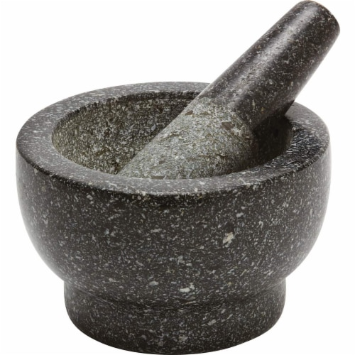 Health Smart Granite Mortar and Pestle Excellent for Grinding Fresh Spices and Herbs Perspective: front