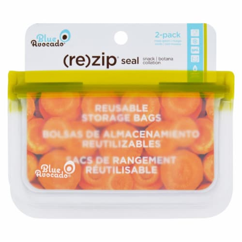Blue Avocado - Bag - Re-Zip - Snack - Green - 2 Count Perspective: front