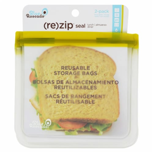Blue Avocado - Lunch Bag - Re-Zip Seal - Green - 2 Pack Perspective: front