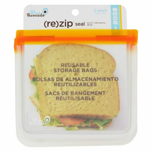Blue Avocado - Lunch Bag - Re-Zip Seal - Orange - 2 Pack Perspective: front