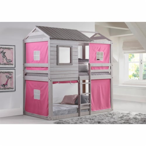 Donco kids PD-1370TTLG-P Deer Blind Twin Over Twin Bunk Loft with Pink Tent - Light Gray Perspective: front