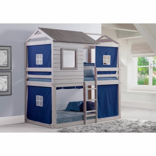 Donco Kids Deer Blind Twin Over Twin Solid Wood Bunk Bed with Blue Tent in Gray Perspective: front