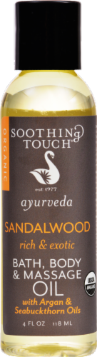 Soothing Touch Ayurveda Sandalwood Bath Body & Massage Oil Perspective: front