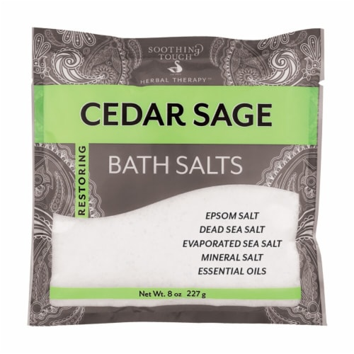 Soothing Touch Restoring Cedar Sage Bath Salts Perspective: front