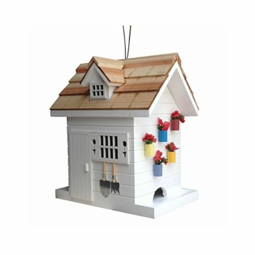 Potting Shed Bird Feeder - White Perspective: front