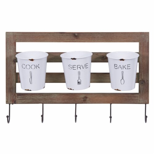 Rustic Hanging Utensil Caddy with Hooks & Removable Tin Buckets Perspective: front